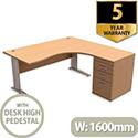 Komo Crescent Right Hand Desk With Desk High Pedestal Beech