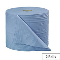 2Work Bumper Tissues Refill 2-Ply Paper Cleaning Roll 280mm x 400 Metres Blue Rolls (2 Pack) B2B340