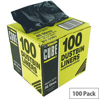 Le Cube Black 80L Dustbin Liner Dispenser Pack of 100 0483