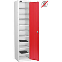 Lion Steel 10 Compartment Laptop Locker with Silver Body & Red Doors H1780xD525xW380mm