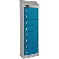 Probe 8-Door Wallet Locker Silver Body & Blue Doors By Lion Steel 100101180/8