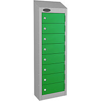 Probe 8-Door Wallet Locker Silver Body & Green Doors By Lion Steel 100101180/8