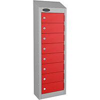 Probe 8-Door Wallet Locker Silver Body & Red Doors By Lion Steel 100101180/8