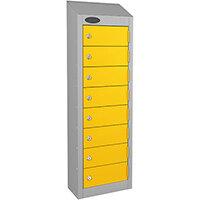 Probe 8-Door Wallet Locker Silver Body & Yellow Doors By Lion Steel 100101180/8