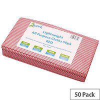 2Work All Purpose Cleaning Cloths Red Pack of 50 KECORYR