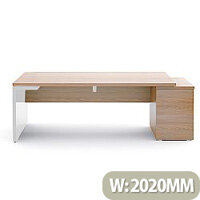 Mito Executive Desk With Right Hand Pedestal 2020mm Light Sycamore & White