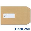 New Guardian C5 Window Manilla 130gsm Envelopes Press Seal Pocket Pack 250 Ref A23013