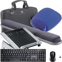 """Working from Home Office Bundle Kit - Laptop Riser, Keyboard and Mouse Set, Mouse Pad, Wrist Rest, Falcon Laptop Bag 16"""" - All in One Set"""