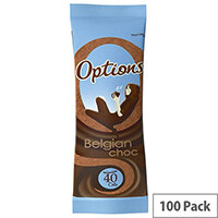 Options Belgian Hot Drinking Chocolate Powder Sachets Pack of 100 W550029