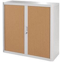 Paperflow Easy Office Cupboard 1 Metre Grey/Beech with 2 Shelves EE000016