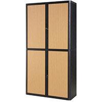 Paperflow Easy Office Cupboard 2 Metres Black/Beech with 4 Shelves EE000024