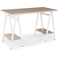 Pella Home Office Workstation With Trestle Legs Windsor Oak Desktop with White Frame W1200xD600xH760mm