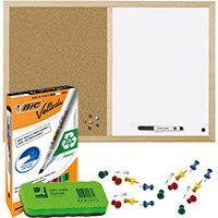 Pin Board Home Office Bundle - Cork and Drywipe Combination Board 900x600mm & Whiteboard Marker Pk 4 & Push Pins Pk 20 & Drywipe Eraser