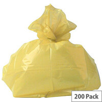 2Work Clinical Waste Bags Yellow Refuse Sacks 100L Pack 200 0863