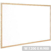 Q-Connect Whiteboard Wooden Frame 1200x900mm – White Surface, Wall-Mountable, Home Or Office, Easily Cleaned, No Scratch Or Blemish, Durable & Non-Magnetic (KF03572)