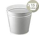 Q-Connect Metal Office Waste Desk Bin 15 Litre Round Grey KF12011