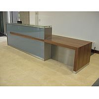 Reception Desk Glossy Silver Glass Counter Wooden Finish RD102