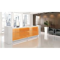 Valde  High Gloss Illuminated Large Reception Unit - L Shaped White Orange RD25