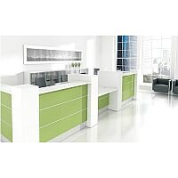 Valde Modern High Gloss Illuminated Reception Unit L-Shaped White Lime Green RD28