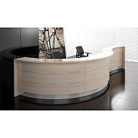 Valde Curved  Wood Effect Reception Unit Canadian Oak Steel Kick Plate Glass Counter Top RD35