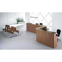 Curved Wooden Reception Desk Pear Wood RD38
