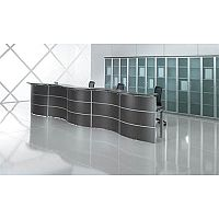 Curved Reception Desk Black Glass Counter Top Rock RD39