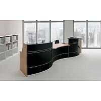 Curved Reception Black With Glass Counter Top RD57