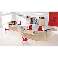 Large Curved Light Beech Glass Counter Top Reception Unit Rock RD78