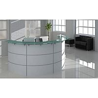 Circular White Tempered Glass Reception Desk RD82
