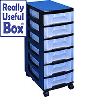 Really Useful Mobile Storage Tower 6x7 Litre Drawers Black & Transparent. Suitable For Offices, Homes, Art Supplies, Warehouses, Hospitals & More.