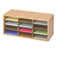 Safco Mailroom Sorter Oak 12 Compartment Literature Organiser