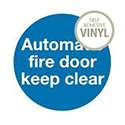 Safety Sign Automatic Fire Door 100x100mm Self-Adhesive Vinyl