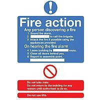 Safety Sign Fire Action Standard A5 Self-Adhesive Vinyl