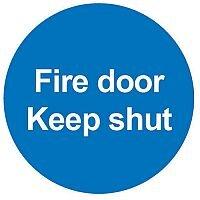Safety Sign Fire Door Keep Shut 100x100mm PVC