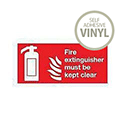 Safety Sign Fire Extinguisher Must Be Kept Clear 100x200mm Self-Adhesive Vinyl