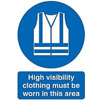 Safety Sign Hi-Vis Clothing Must be Worn A4 PVC
