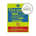 Safety Sign Niteglo Glow In The Dark Fire Action Stand 300x250mm Self-Adhesive Vinyl