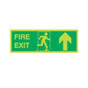 Safety Sign Niteglo Glow In The Dark Fire Exit Running Man Arrow Up 150x450mm Self-Adhesive