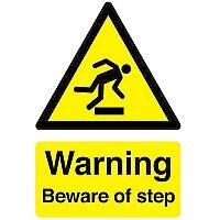 Safety Sign Warning Beware Of Step A5 Self-Adhesive Vinyl