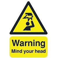 Safety Sign Warning Mind Your Head A5 Self-Adhesive