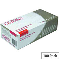 Disposable Powdered Nitrile Gloves Blue Medium Box of 100 Shield GD20