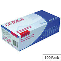 Disposable Powder-Free Vinyl Gloves Blue Medium Box of 100 Shield 2 GD14
