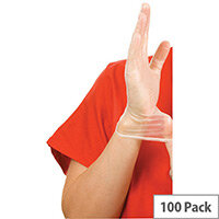 Disposable Powder-Free Vinyl Gloves Clear Small Box of 100 Shield 2 GD09
