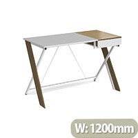 Sidon Home Office Workstation With Pull Out Drawer English Oak With White Frame W1200xD600xH760mm