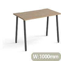 Sparta Rectangular Home Office Desk with Charcoal A Frame Legs & Kendal Oak Desktop W1000xD600xH730mm