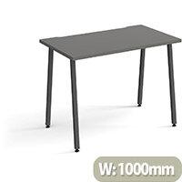 Sparta Rectangular Home Office Desk with Charcoal A Frame Legs & Onyx Grey Desktop W1000xD600xH730mm