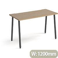 Sparta Rectangular Home Office Desk with Charcoal A Frame Legs & Kendal Oak Desktop W1200xD600xH730mm