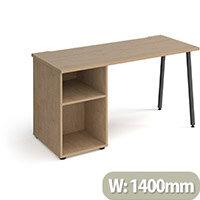 Sparta Rectangular Home Office Desk with Charcoal A Frame Legs & Kendal Oak Desktop & Support Pedestal W1400xD600xH730mm