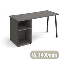 Sparta Rectangular Home Office Desk with Charcoal A Frame Legs & Onyx Grey Desktop & Support Pedestal W1400xD600xH730mm