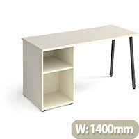Sparta Rectangular Home Office Desk with Charcoal A Frame Legs & White Desktop & Support Pedestal W1400xD600xH730mm